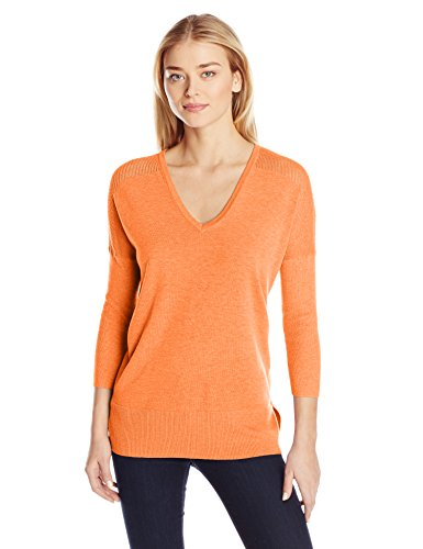 Lilla P Women's Cotton Modal 3/4 Sleeve Easy V-Neck, Orange Sorbet, X-Small