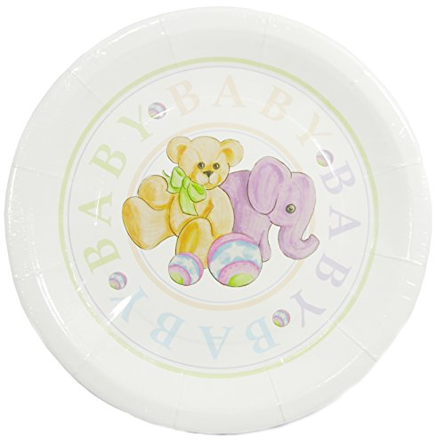 "The Cindus Collection 12"" ""Baby Toys"" Luncheon Paper Plates Baby Showers Parties"