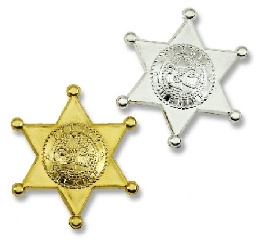 Plastic Sheriff Badges - Gold & Silver - 12 Pcs.