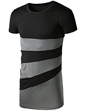 AHKIRA Features mono tone color blocking GREYBLACK L