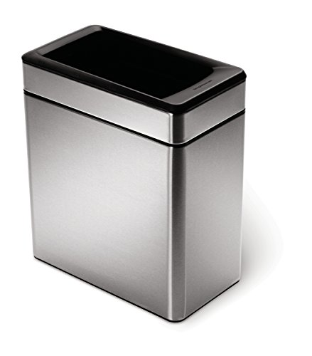 simplehuman Profile Open Trash Can, Stainless Steel, 10 L / 2.6 Gal (Simplehuman Trash Can Open compare prices)