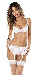 Escante Women's Bra and Garter Belt Set with Hose, White/Pink, Medium