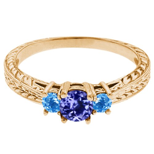 0.60 Ct Round Blue Tanzanite Swiss Blue Topaz 14K Yellow Gold 3-Stone Ring