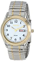 Big Sale Seiko Men's SNE062 Two-Tone Solar White Dial Watch