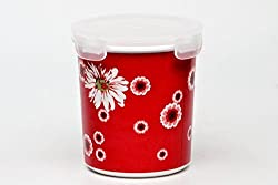 Superware Ektra red flower print store n safe round midi 900 ml