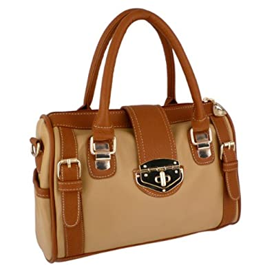 MG Collection BRADLEY Dual Tone Brown Bowling Style Satchel Handbag