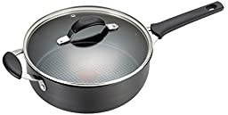 T-fal E81733 Endura Hard Anodized Titanium Nonstick Dishwasher Safe Saute Pan Cookware, 4.5-Quart, Black