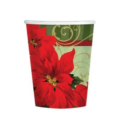 Amscan BB739543 Vintage Poinsettia 9Oz Cups -18 Pack