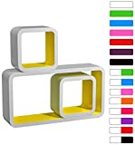 WOLTU-RG9229gb-3er-Set-Lounge-Cube-Regal-Retro-Wandregal-Bcherregal-MDF-Holz-Wei-Gelb