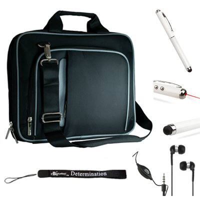 Black Silver Travel Carrying Case With Adjustable Shoulder Strap For Toshiba Excite 10 + Includes Hd Noise Filter Earphones With Mic ( 3.5Mm Jack ) + Includes Capacitive Stylus Pen