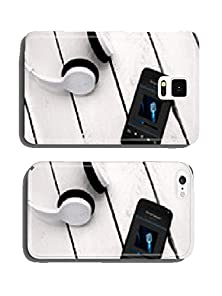 buy Modern Smartphone On The Wooden Board With Bluetooth Headphones. Cell Phone Cover Case Iphone5