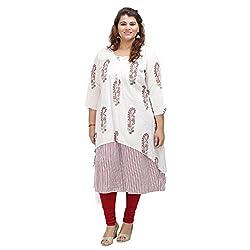 Damyantii White Cotton Long Sleeve Straight casual XXL Kurta (Dmk_048_XXL)