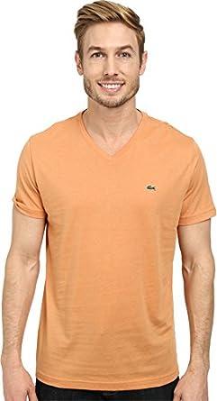 Lacoste Men's S/S Pima Jersey V-Neck T-Shirt Pumpkin T-Shirt S (EUR 4)