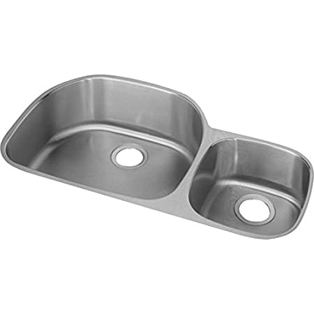 "Elkay ELUH3621RDBG 18 Gauge Stainless Steel 36.2813"" x 21.1406"" x 7.5"" Double Bowl Undermount Kitchen Sink Kit"