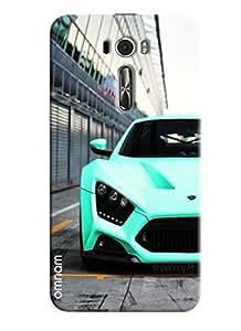 Omnam Skyblue Sports Car Front Effect Printed Designer Back Cover Case For Asus Zenfone 2 (ZE601KL)