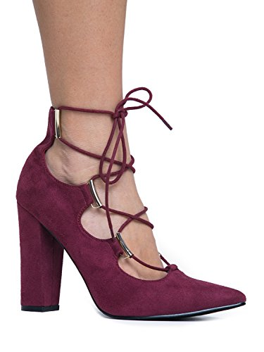 Lace Up Pointed Toe Chunky Heel - Comfortable Block High Heel - Trendy Strappy Ghillie Design - Women's Ankle Strap Pointed Toe Shoe (Red Strappy Heels compare prices)