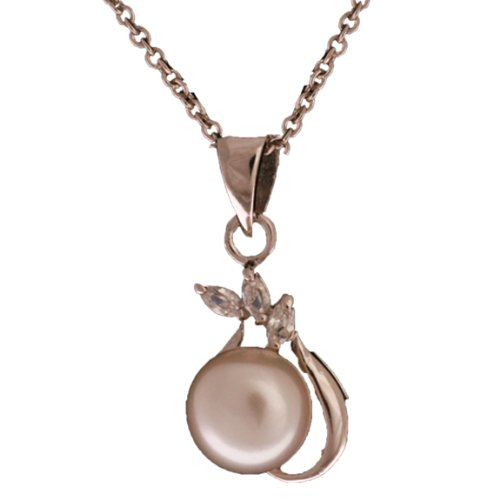 Elegant Sterling Silver with Rhodium Overlay Freshwater Pearl Pendant Necklace with CZ Stoens!