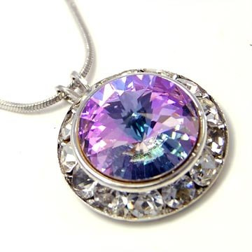 Violet Crystal Round Pendant Necklace Made With Swarovski Elements