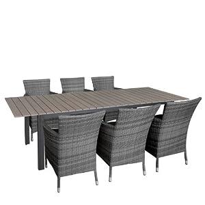 7tlg gartengarnitur sitzgarnitur sitzgruppe ausziehbarer aluminium gartentisch mit. Black Bedroom Furniture Sets. Home Design Ideas