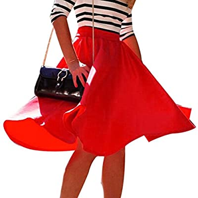 Susenstone Women Stretch High Waist Flared Pleated Swing Long Skirt Dress
