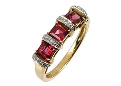 Ariel 9ct Yellow Gold Diamond and Red Garnet Eternity Ladies Ring
