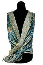 Elegant Turquoise Reversible Paisley Pashmina Shawl Wrap