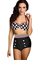 Vintage Retro Bikini Polka Dots White Top Black High Waist Short Bottom Swimwear Bathing Suit (NO.1, S)