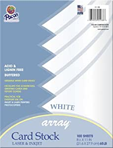 "Array Card Stock, 8.5""x11"", White, 100 Sheets/Pkg"