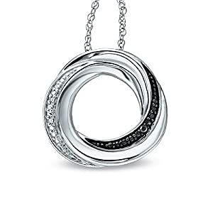 Sterling Silver Black and White Diamond Accent Circle Pendant with 18