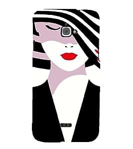 PrintVisa Fashion Girl Hat 3D Hard Polycarbonate Designer Back Case Cover for Infocus M350