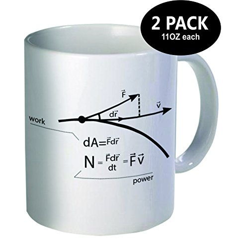 Pack of 2 - Work, power, Engineer, physics - 11OZ ceramic coffee mugs - Best funny and inspirational gift (Baby Bird Hair Dryer compare prices)