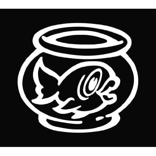 Fish Bowl Goldfish Die Cut Vinyl Decal Sticker   5.5 White