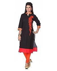 Namah Women's Cotton Regular Fit Kurti (D58-L, Black, L)