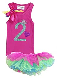 Baby Girls 2nd Birthday Tutu Tank Top Shirt Set By Bubblegum Divas