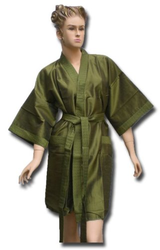 Satin Kimono Bath Robe Night Gown Geisha Flower Japan unisize for L / XL green KU08