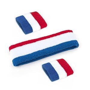 GOGO Patriot Style NBA Style Stripe Sweatband Set (Price for 6 Sets) by GOGO