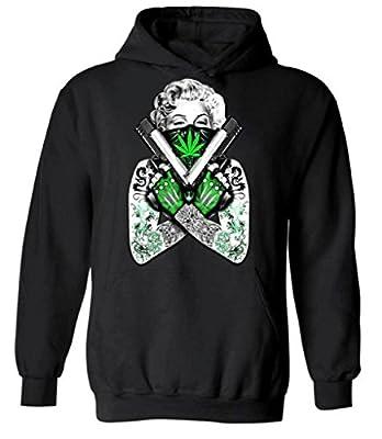 icustomworld Marijuana Monroe Hoodie Marilyn Tattoo Guns Hooded Sweatshirt