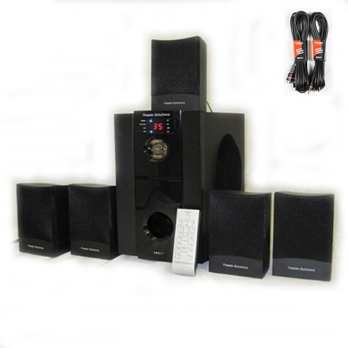 5.1 Multimedia Powered Home Theater Surround Sound Speaker System with Bluetooth and Two 25' Extension Cables TS511B-2