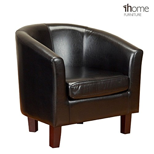 1home-bonded-leather-tub-chair-armchair-for-dining-living-room-office-reception-black