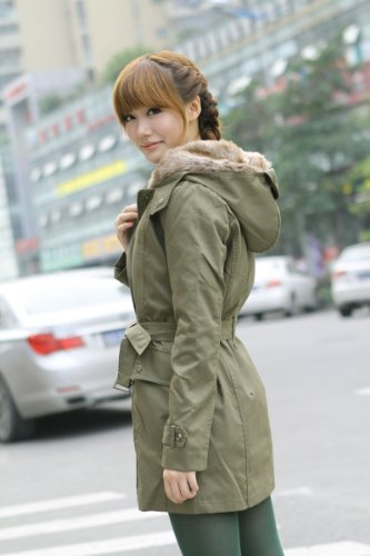 Women warm long coat hoody overcoat faux fur Hooded winter Thicken quilted Parka