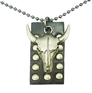 Unisex Genuine Black Good Leather Metal Tau Pendant Necklace Choker 26