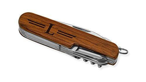 Dimension 9 Initial L or Monogram L 9-Function Multi-Purpose Tool Knife, Rosewood