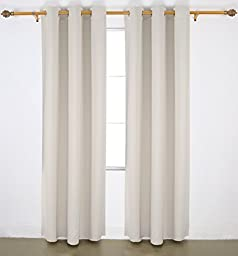 Deconovo Room Darkening Thermal Insulated Blackout Grommet Window Curtain Panel For Living Room, Light Beige, 42x84 Inch, 1 Panel