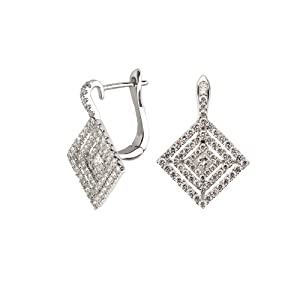18k White Gold Square Diamond Earring with 1.08 Cttw of Diamonds (G-H Color, VS2-SI1 Clarity)