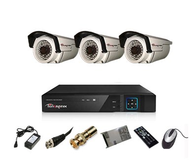 Tentronix T-4ACH-3-BA13 4-Channel AHD Dvr, 3(1.3MP/36IR) Bullet Cameras (With Accessories)