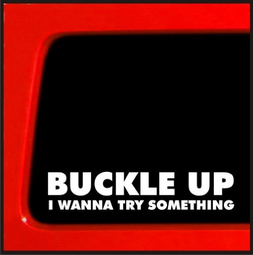 Buckle Up I Wanna Try Something - Sticker Decal truck diesel 4x4 funny car vinyl (Cummins Turbo Diesel Sticker compare prices)