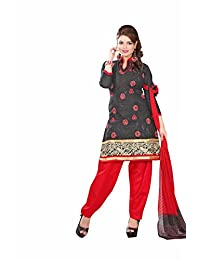 AASRI Party Wear Cotton Embroidered 3 Piece Unstitched Salwar Suit 6007