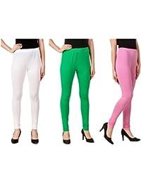 Svadhaa White Green Light Pink Cotton Lycra Leggings(Pack Of 3)
