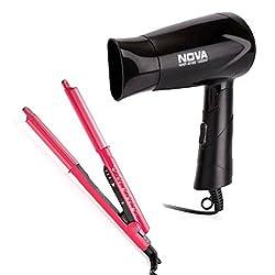 Nova Freshers Pack NHS 981 and NHP 8100 Foldable Hair Dryer (Pink/Black)