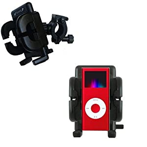 Gomadic Bike Handlebar Holder Mount System for the Apple iPod Nano - Unique Holder, Lifetime Warranty